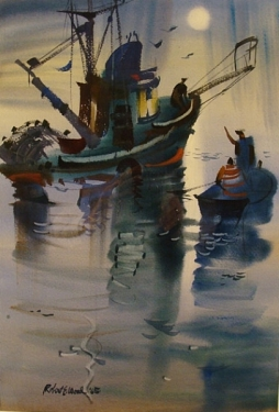 Fishing Boat, San Pedro by Robert E. Wood 20x13 Watercolor