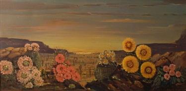 Roy M Ropp Desert Flowers 15x30 Oil