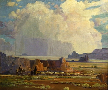 Roy Ropp Distant Thunderheads Monument Valley 24x28 Oil