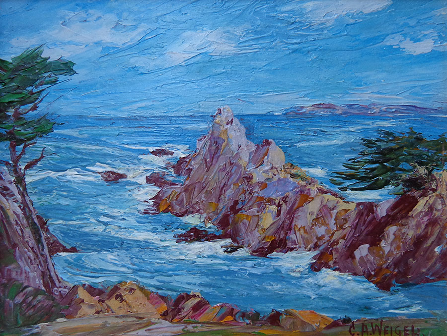 Charles A Weigel Pinnacle Rock Monterey 8x10 Oil on Board