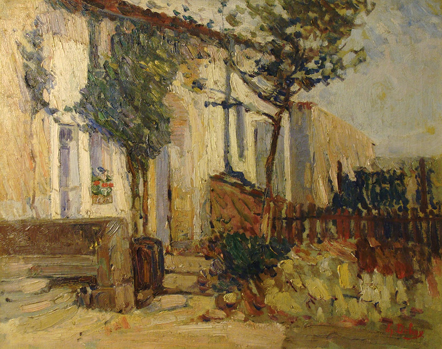 Charles Dehoy Front Steps of the Chateau 16x20 Oil on Board