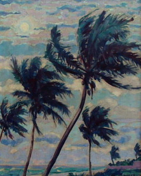 Charles Drogkamp Coconut Palms 17x13 Oil