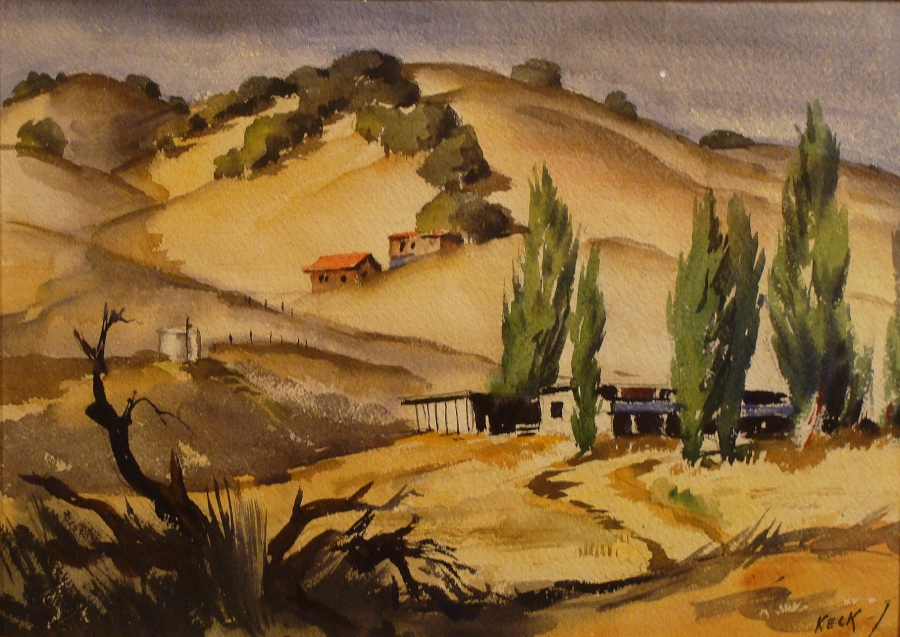 Charles Keck California Hillside Houses 11x14 Watercolor