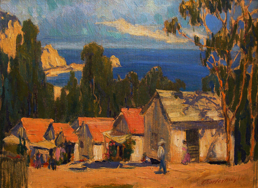 Charles Killgore Early Catalina Cottages 12x16 Oil on Board