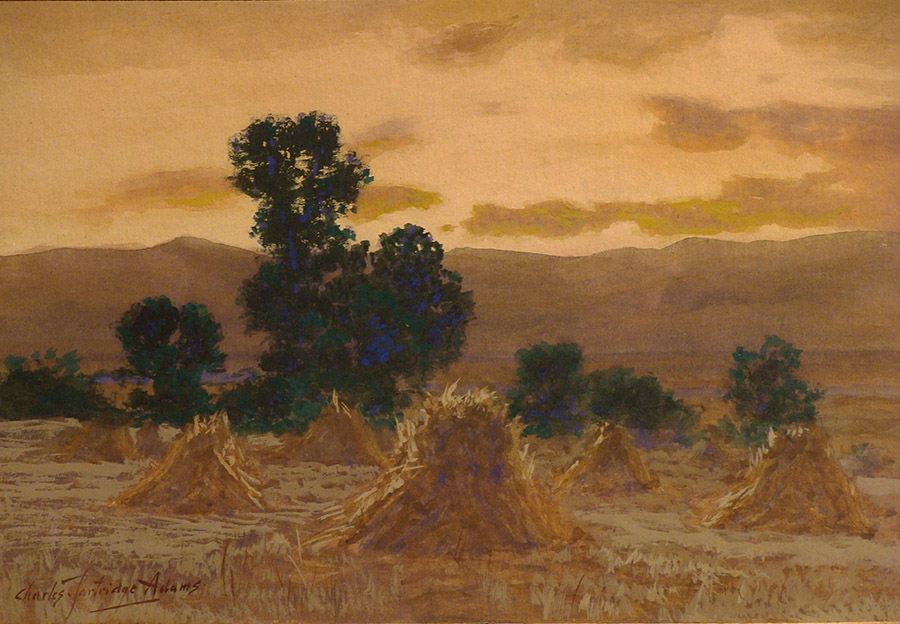 watercolor by Charles Partridge Adams of a hayfield at sunset in golden light