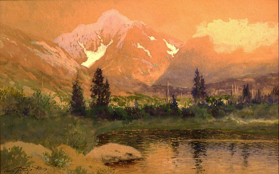 Watercolor of Mt Taylor from Bartholf Park or Estes Park by Charles Partridge Adams with lake, water reflections and mountain peak in yellow, green and pinkish tones