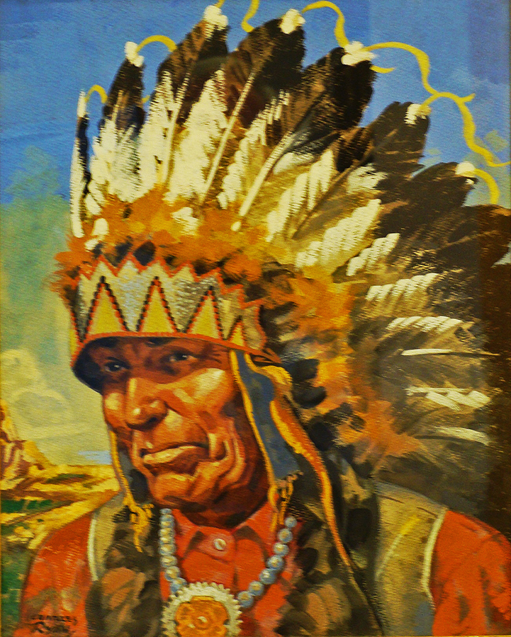 Charles Ryan Indian Chief 16x12 Gouache