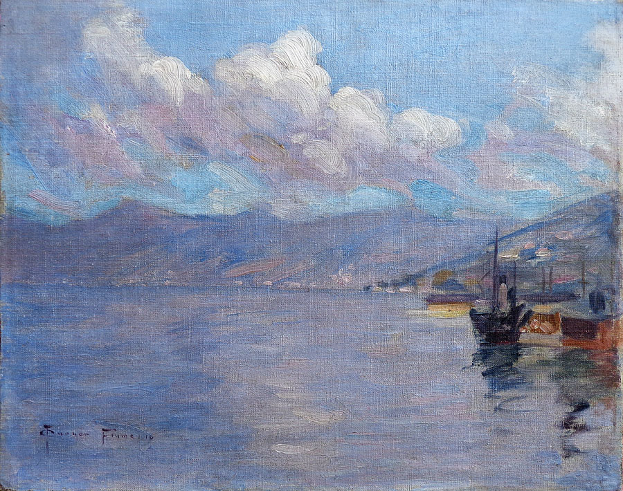 Charles Louis Turner Harbor Bay Area 11x14 Oil on Canvas Board