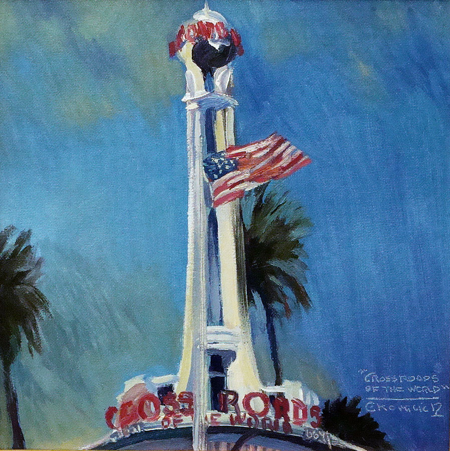 Chuck Kovacic Crossroads of the World 12x12 Oil on Board