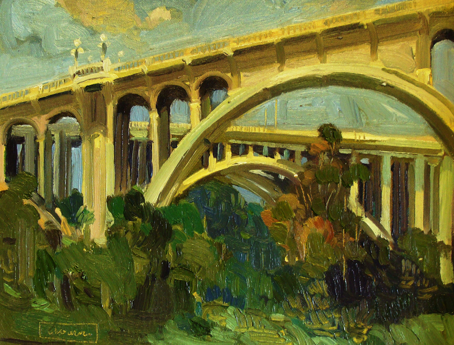Chuck Kovacic Pasadena Bridges 11x14 Oil on Board