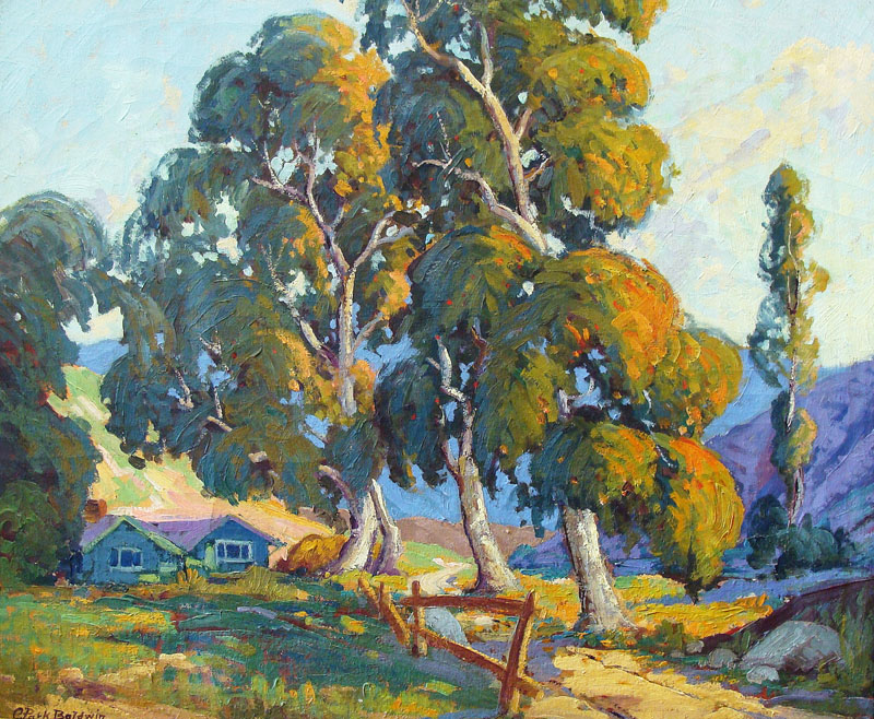 Clifford P Baldwin Houses Amongst the Eucalyptus 20x24 Oil on Canvas