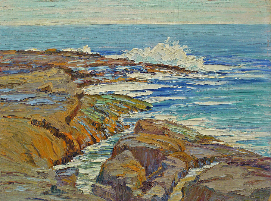 Attributed Anna Risher Laguna Surf 12x16 Oil on Board