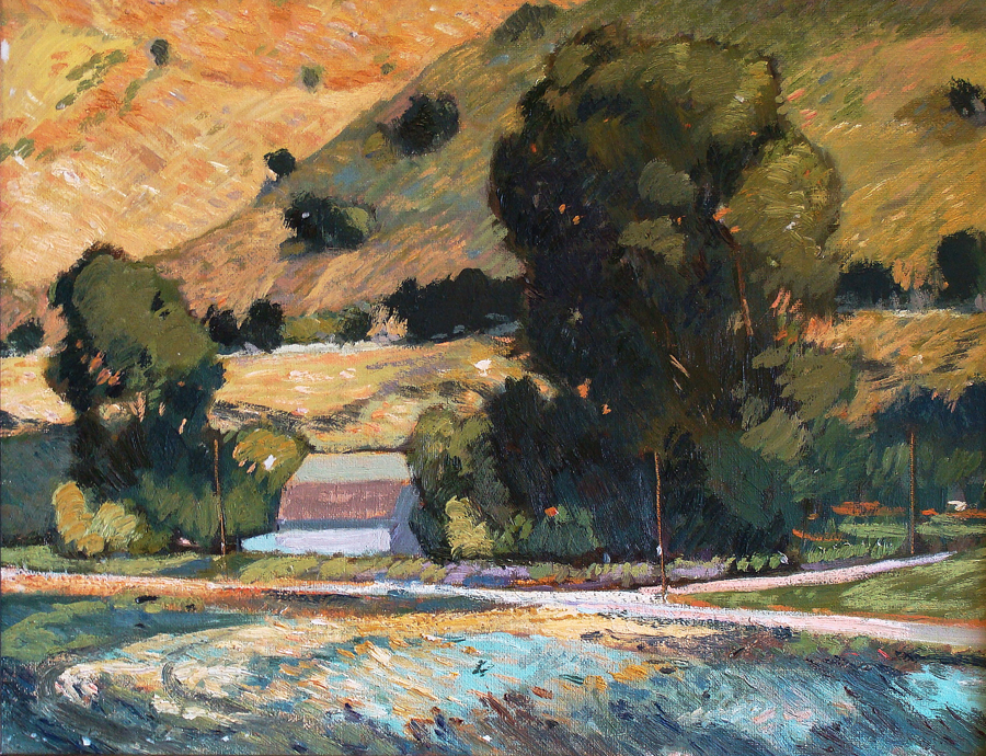 Chuck Kovacic San Luis Obispo Hillside 14x18 Oil on Board