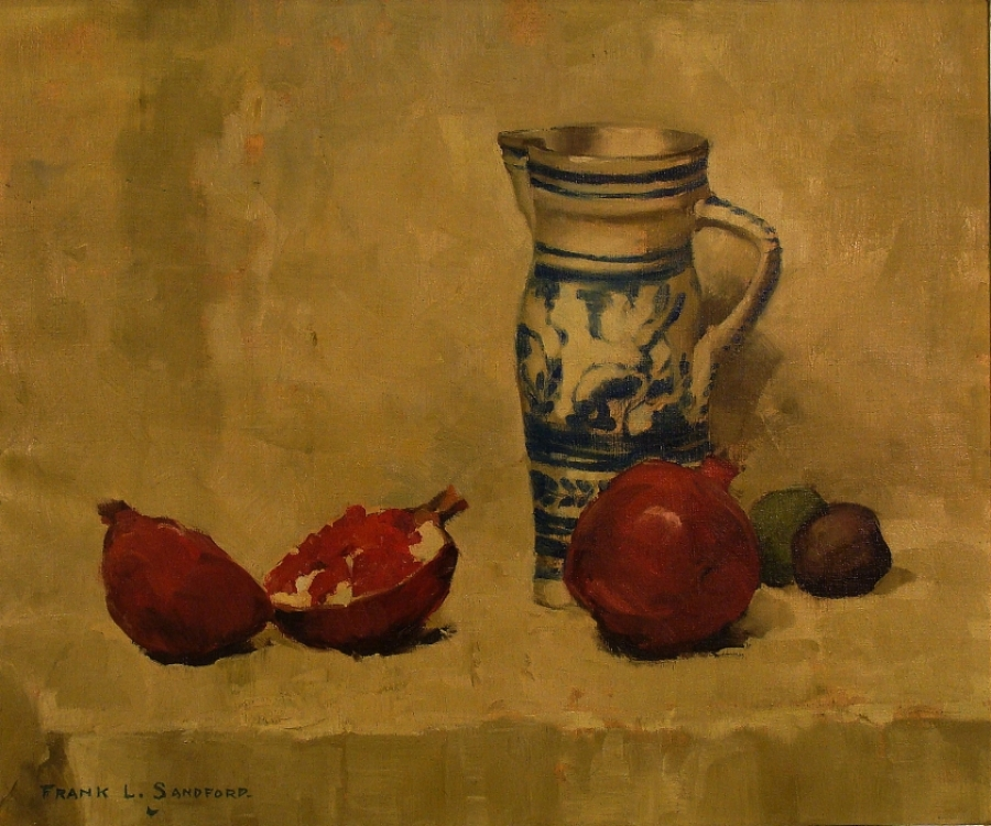 Frank L Sanford Pomegranates and Jug 20x24 Oil on Canvas