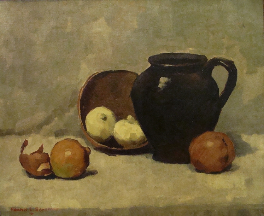 Frank L Sanford Still Life with Jug and Onions 18x24 Oil on Canvas