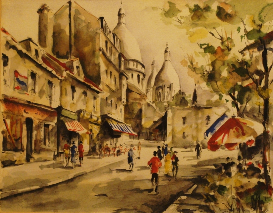 G Lelong French Street Scene 9x11 Watercolor