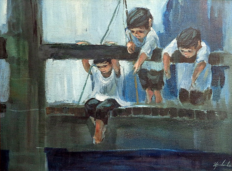 George Michaud Watching the Fish 30x40 Oil on Canvas