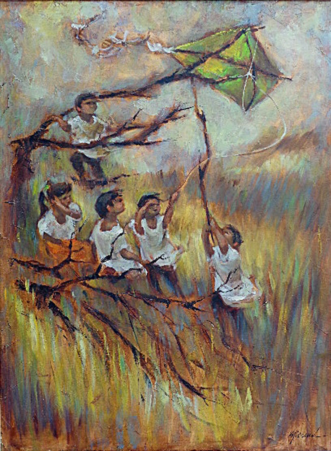 George Michaud Kite Flying 30x40 Oil on Canvas