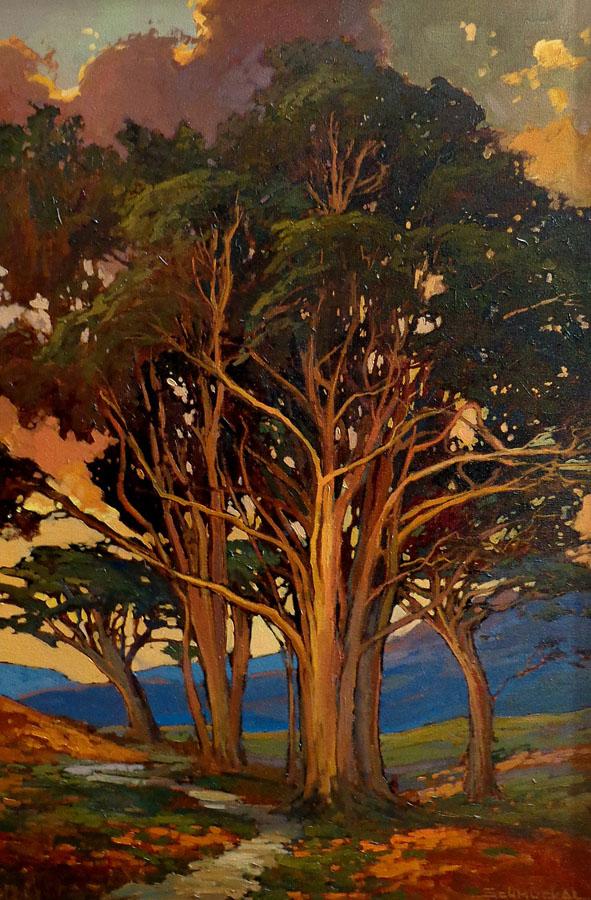 Jan Schmuckal Sunset Trees Oil on Canvas