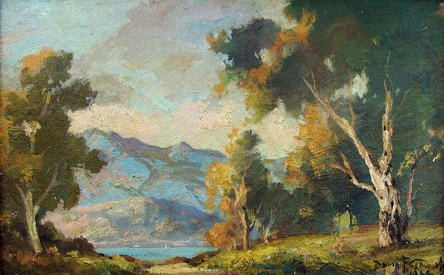 Davis F Schwartz California Sycamores 7x10 Oil on Canvas Board