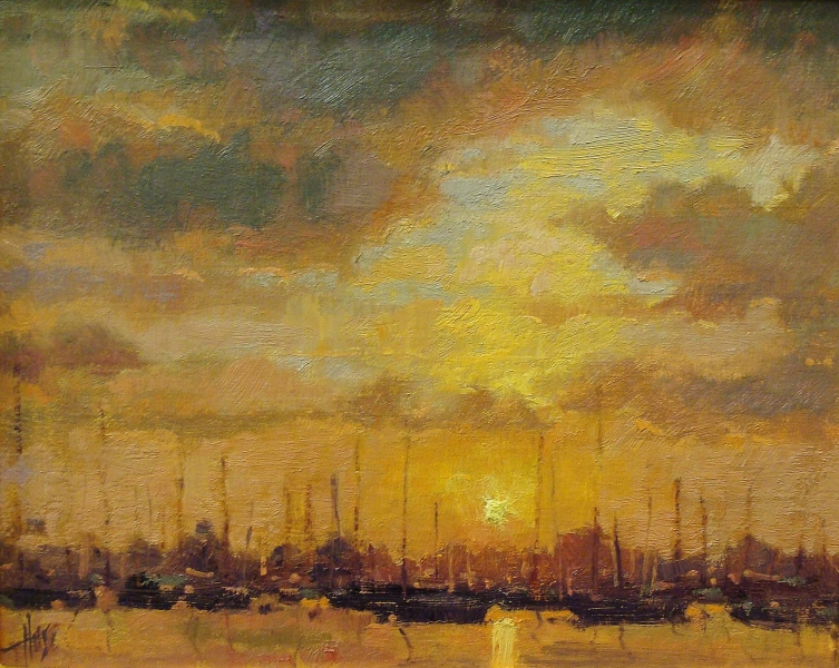 Debra Huse Balboa Harbor Sunset 8x10 Oil on Board