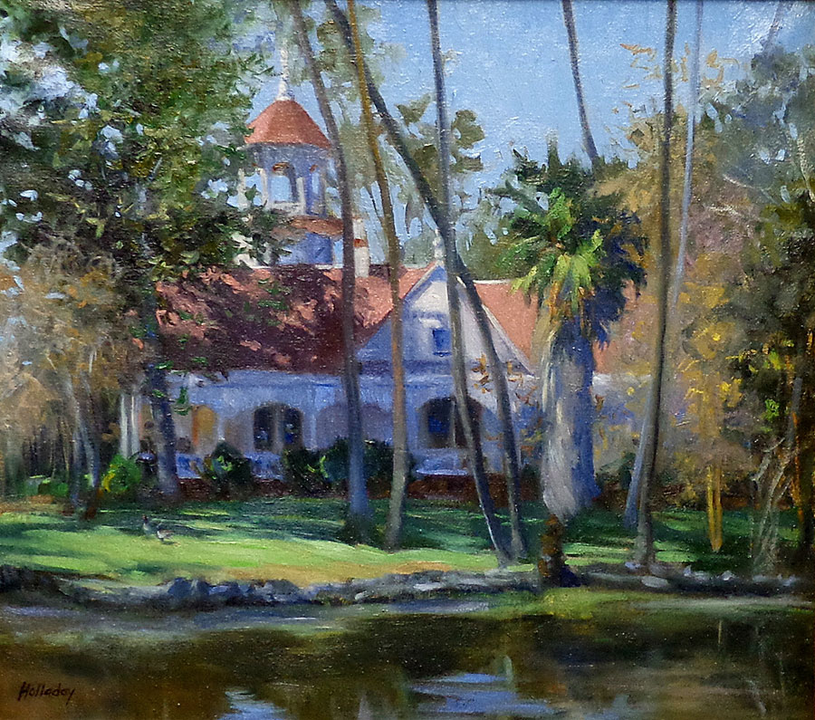 Debra Holladay Queen Anne Cottage LA Arboretum 16x18 Oil on Board