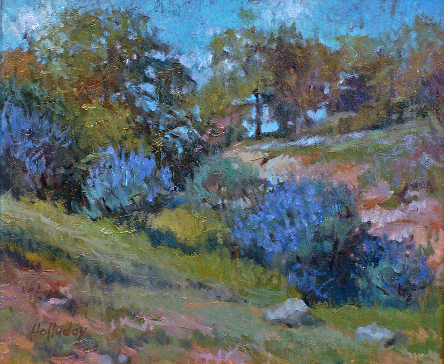Debra Holladay Blue Lupine 9x12 Oil on Board