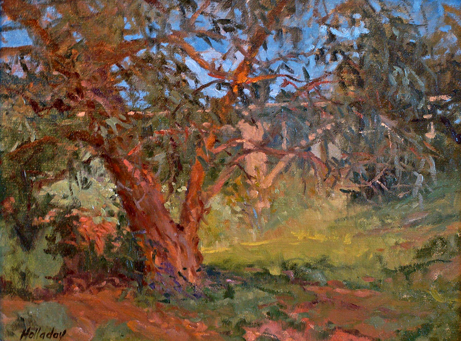 Debra Holladay Sycamore and Pasadena Bridge 11x14 Oil on Board