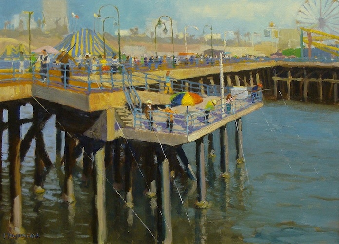 Dick Heimbold Fishing Santa Monica Pier 20x24 Oil