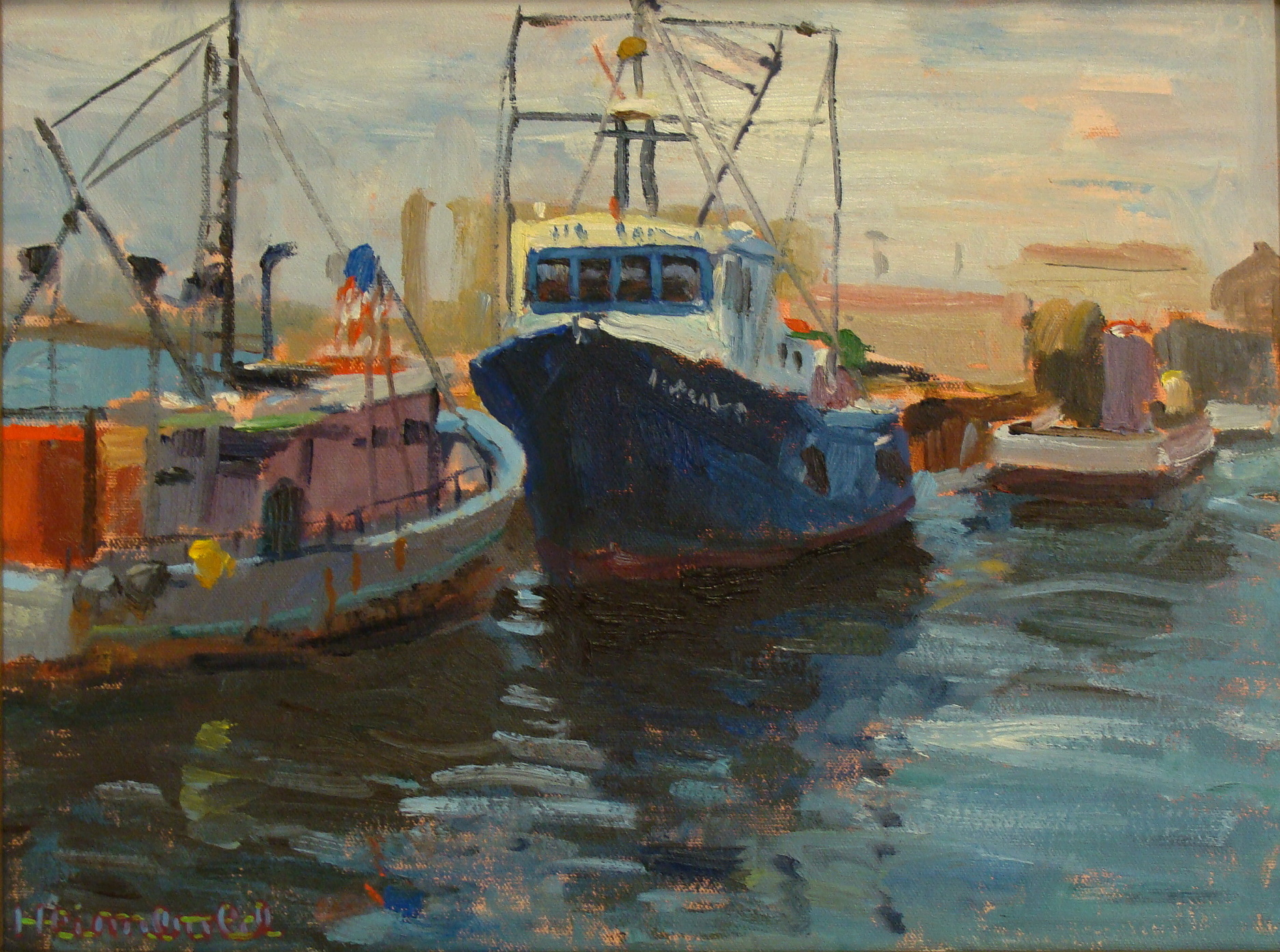 Dick Heimbold Harbor Pals 12x16 Oil on Board