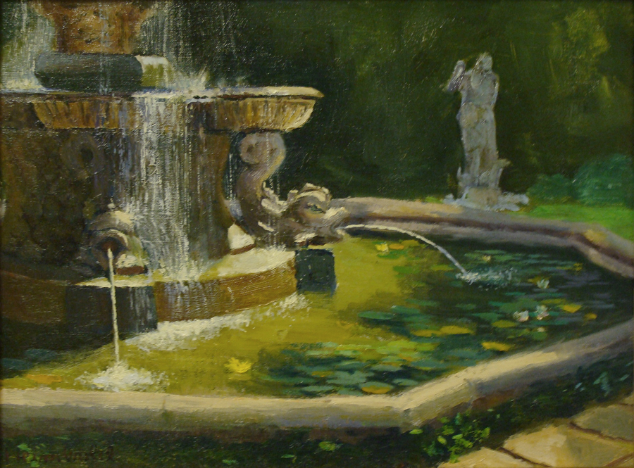 Dick Heimbold Italian Fountain 12x16 Oil on Board