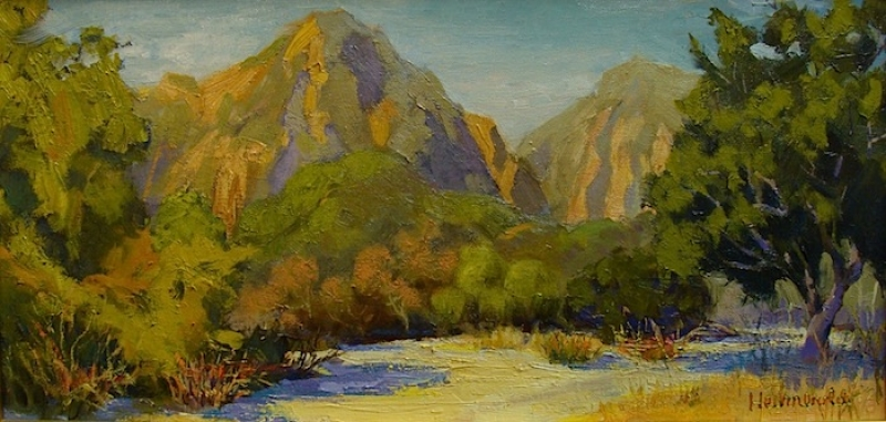 Dick Heimbold Morning in the Mountains 12x20 Oil