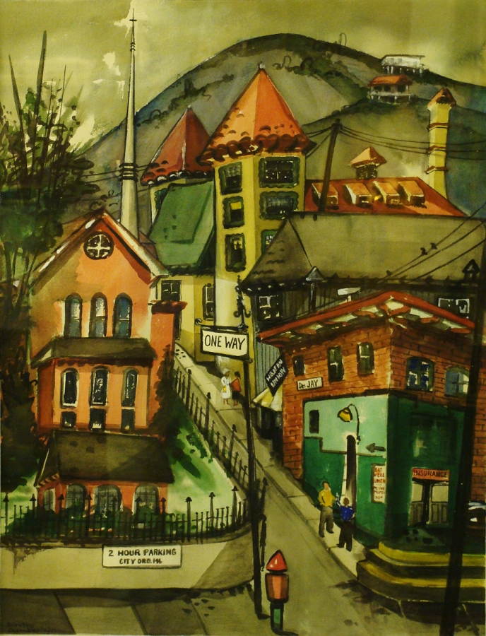 Dorothy Chamberlain Street in Bisbee 28x20 Watercolor