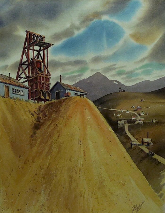 Duane R Light Consolidated Mine Dakota Nevada 30x22 Watercolor