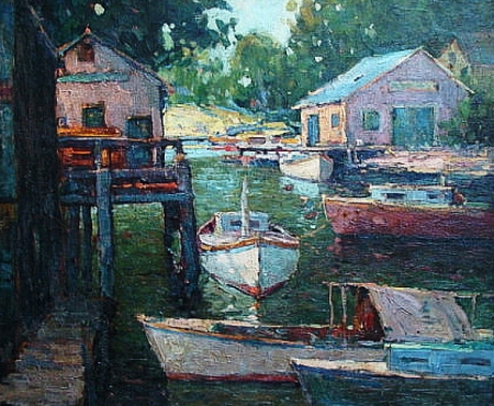 American School Houses along the River Oil 25x30