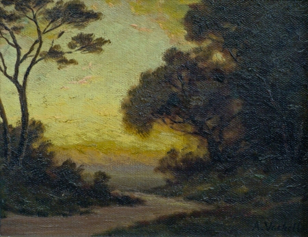 Barbizon style oil painting by Arthur Vachell of sunset and dark trees along a country road