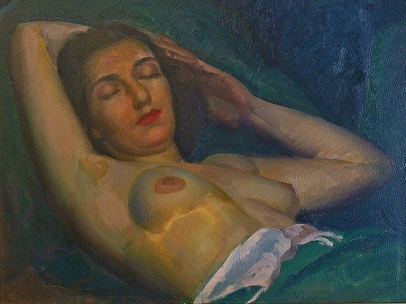 Blue oil painting of nude reclining by Joesph Newman