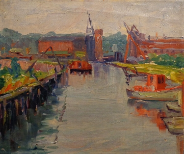 Alta West Salisbury Working Docks 8x10 Oil on Canvas Board