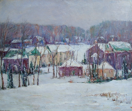 Alta West Salisbury Houses in Winter 20x24 Oil on Canvas