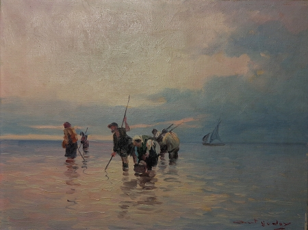 Antonio Godoy The Clamdiggers 12x16 Oil on Canvas