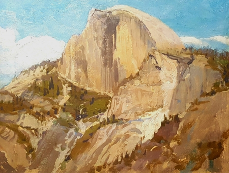 Attributed to Frederic Becker Half Dome 6x8 Oil on Board