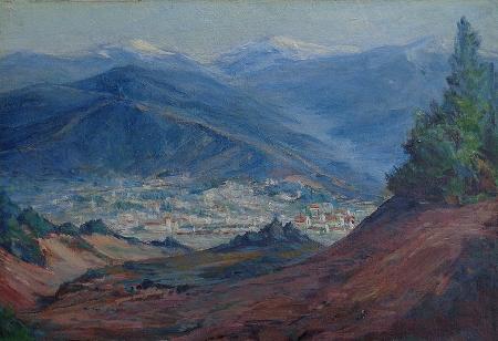 Benjamin C. Brown Overlooking the San Fernando Valley 14.5x21.5 Oil on Board