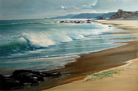 Calderon Peaceful Shore 24x36 oil on canvas