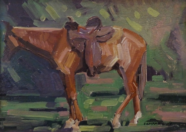 Conrad Buff Saddlehorse 12x16 Oil on Board