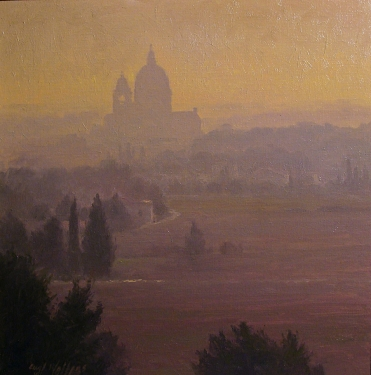 Curt Walters Sunset over Assisi 16x16 Oil on Board