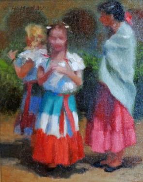 Debra Holladay Colorful Dresses 10x8 oil on board