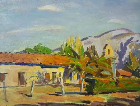 E. Roscoe Shrader San Antonio de Pala Mission 14x18 Oil on Canvas