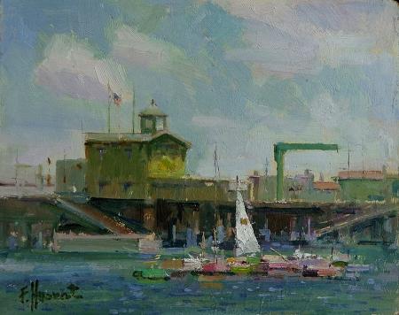 Felice Hrovat Catalina Island Pier 8x10 Oil on Board