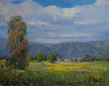 Felice Hrovat Distant Houses-Antelope Valley 11x14 Oil on Canvas