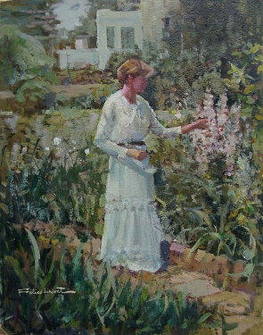 Felice Hrovat In the Garden 18x14 Oil on Board